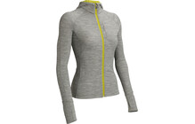 Icebreaker Quantum Middenlaag Dames LS, Zip, Hood, BF260 grijs